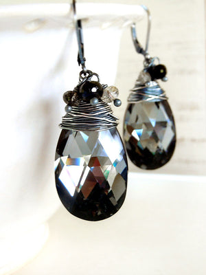 Black crystal drop earrings wire wrapped with sterling silver