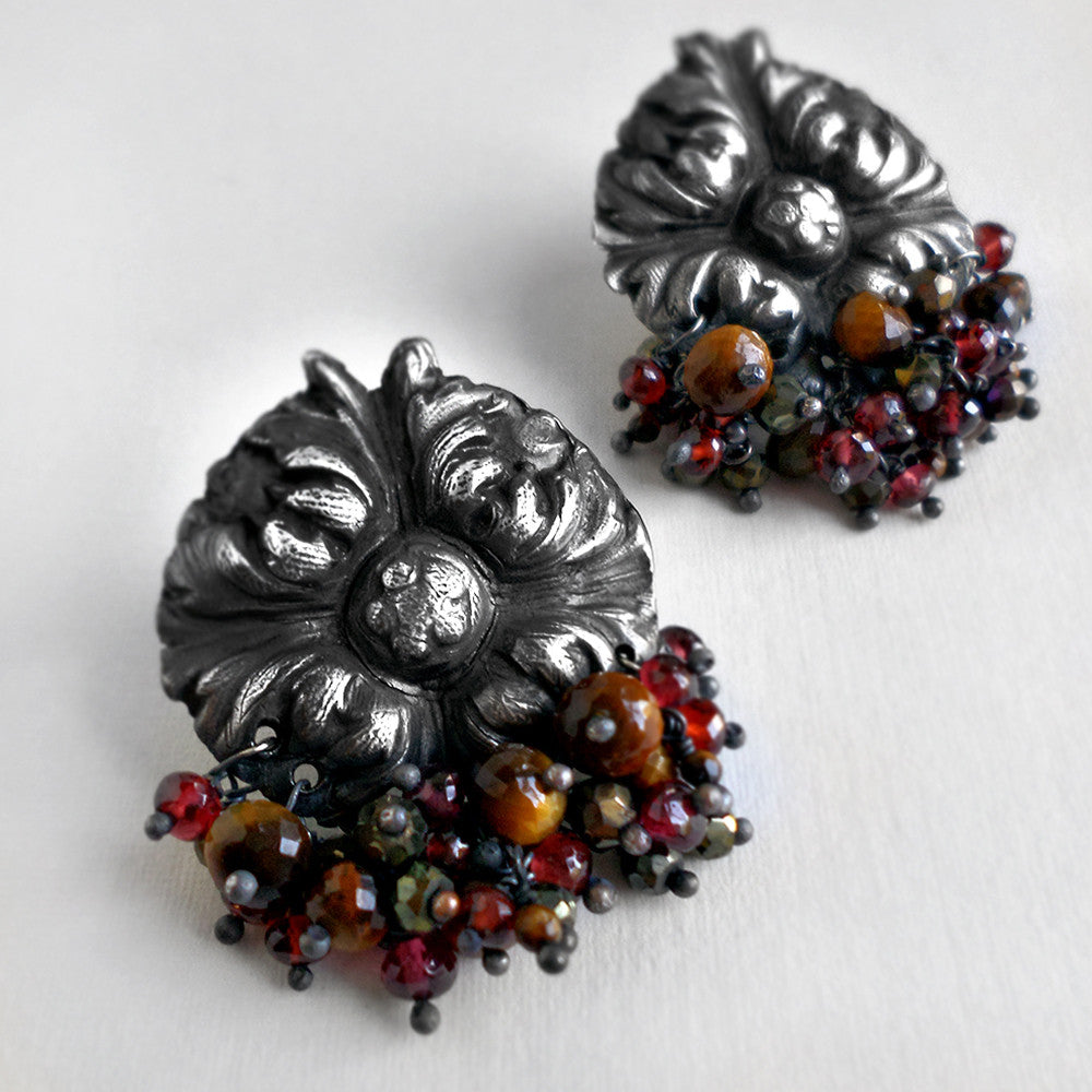 silver medallion post earrings with garnet, tigers eye and pyrite gemstones