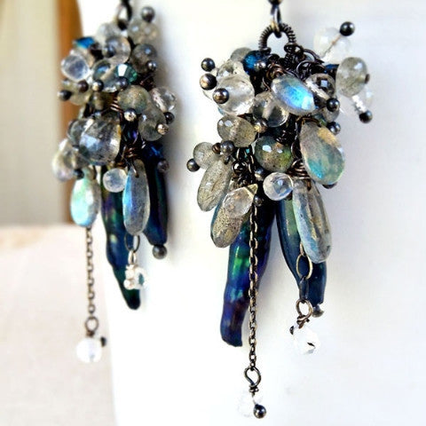 Rook Earrings with Navy Blue Pearls, Labradorite and Silver