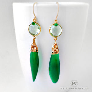Long green stone drop earrings wire wrapped with gold