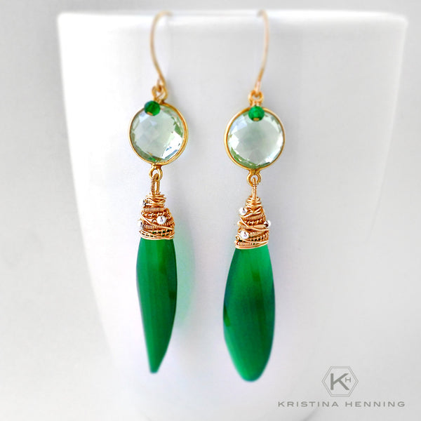 Green onyx and amethyst long stone earrings in gold