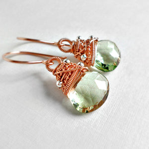 Green amethyst and rose gold wire wrapped earrings