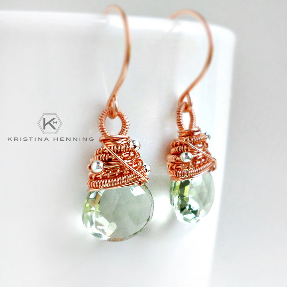 Green amethyst drop earrings wire wrapped with rose gold