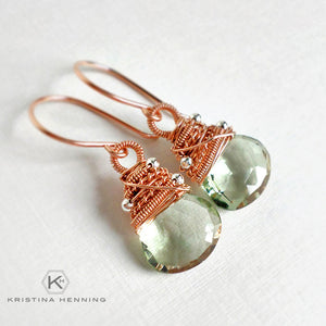 Rose gold and green amethyst gemstone earrings - February birthstone earrings