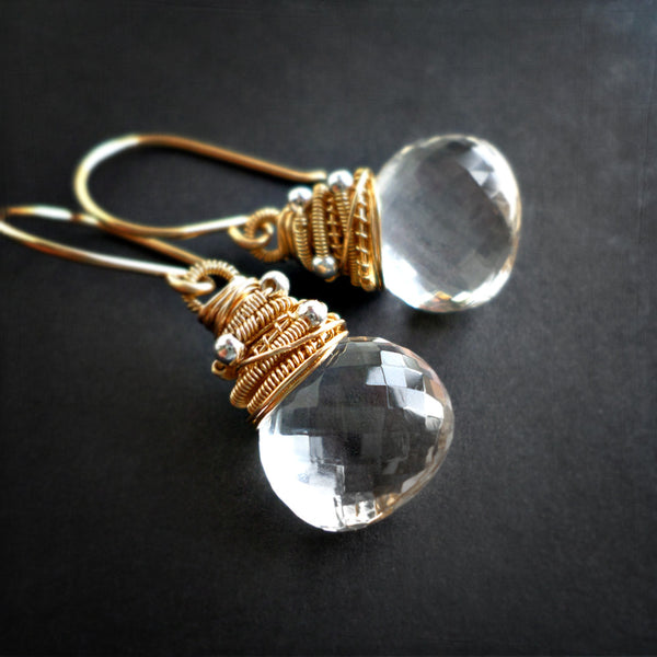 Clear quartz and gold drop earrings