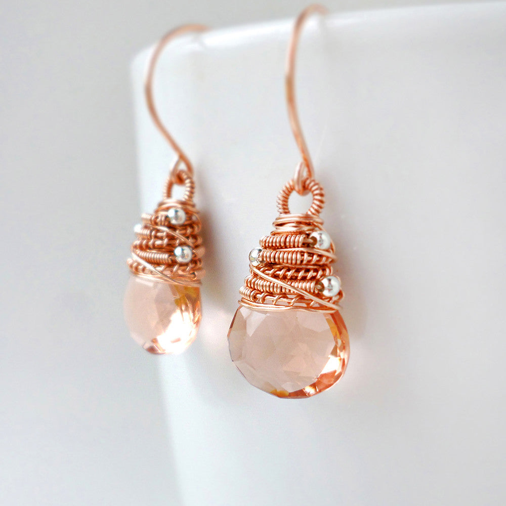 peach stone drop earrings with pink gold and silver