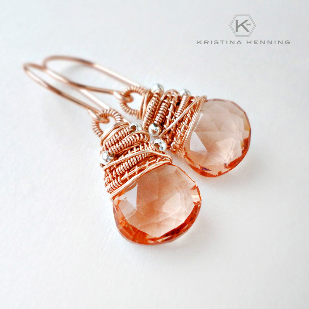 pastel peach gemstone dangle earrings with rose gold