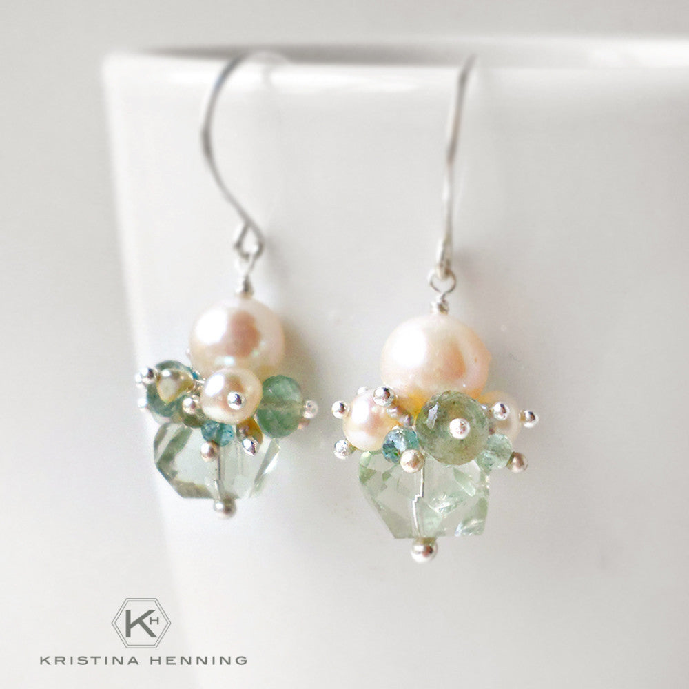 Green amethyst, aquamarine and white pearl drop earrings in sterling silver