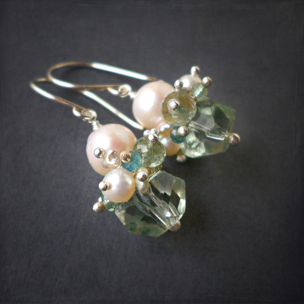 White pearl and mint green drop earrings