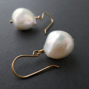 white pearl and gold drop earrings - June birthstone jewelry