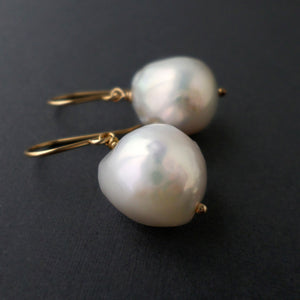 large white pearl drop earrings in gold fill