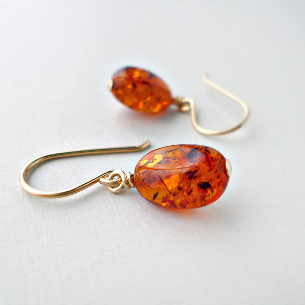 baltic amber and gold earrings