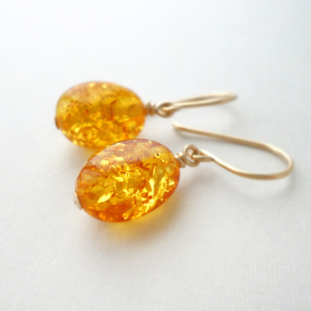 yellow amber and gold drop earrings
