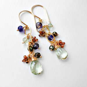 Green, blue and brown dangle earrings with gold