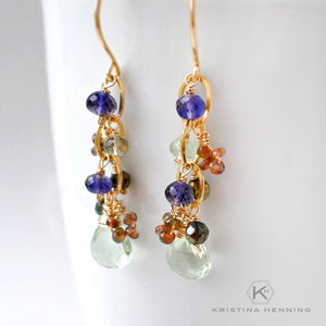 Multi gemstone dangle earrings wire wrapped with gold