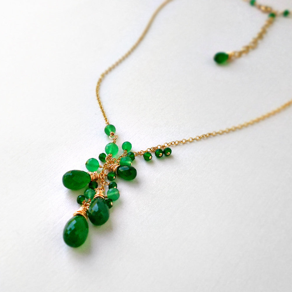 Green onyx and gold gemstone necklace