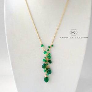 Green onyx and gold gemstone y necklace