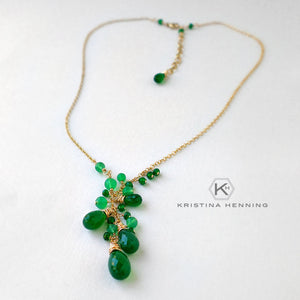Emerald green onyx gemstone and gold cascade necklace