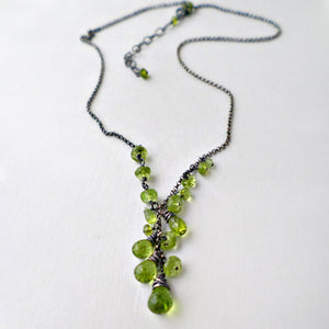 green peridot y style necklace