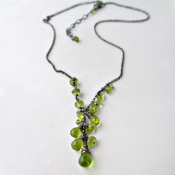 green peridot gemstone necklace in sterling silver