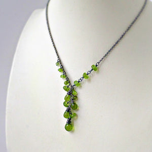 Peridot and sterling silver necklace - August birthstone