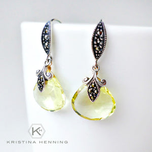 Marcasite drop earrings with yellow lemon quartz gemstone drops