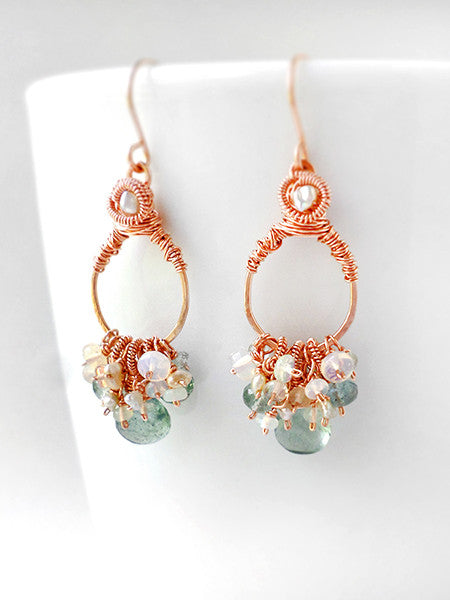 Aria Earrings with moss aquamarine, opal and rose gold