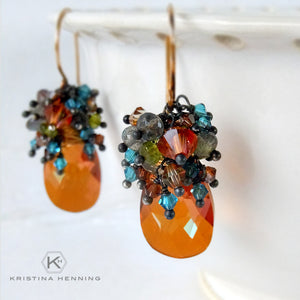 Orange and blue crytal and gemstone drop earrings
