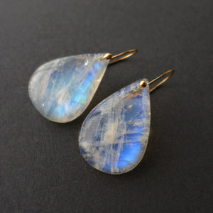 moonstone drop earrings with gold - June birthstone jewelry