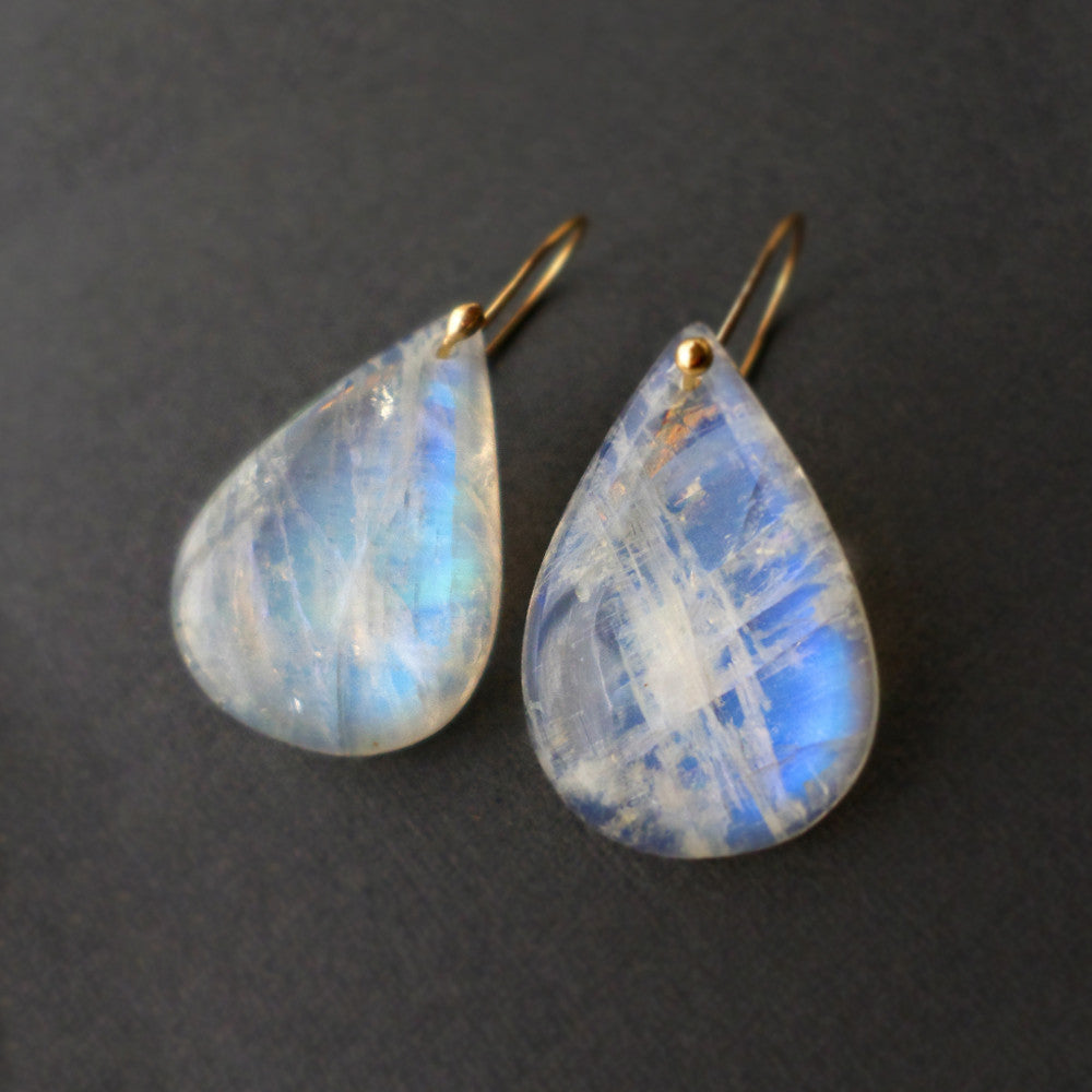 Moonstone drop earrings with 14k gold fill wires