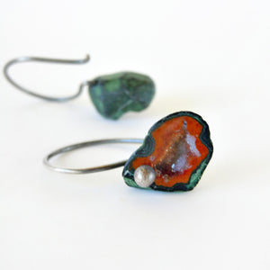 Rust orange geode earrings in sterling silver