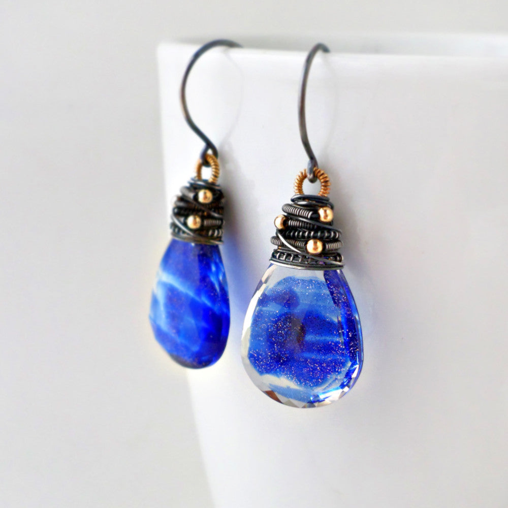 wire wrapped royal blue quartz earrings in sterling silver and gold