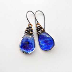 blue glitter quartz drop earrings in sterling silver