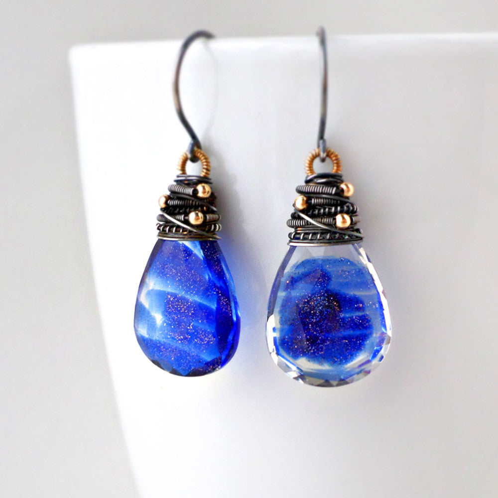 blue quartz drop earrings wire wrapped with sterling silver and gold