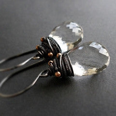 Avril Earrings with clear quartz and oxidized sterling silver gemstone drop