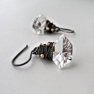 rock crystal quartz and sterling silver drop earrings