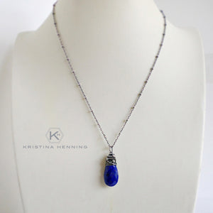 Lapis pendant necklace in sterling silver
