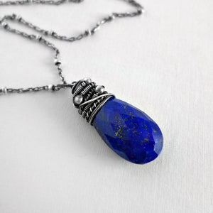 Cobalt blue lapis lazuli and sterling silver necklace