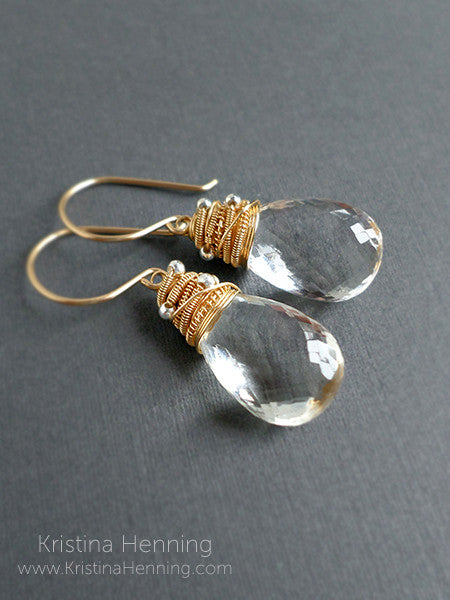 Clear gemstone drop earrings in 14k gold