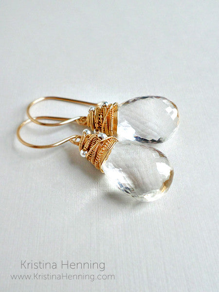 Handmade clear quartz and gold earrings
