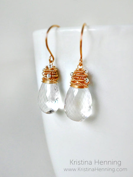 Artisan gold and clear quartz drop earrings