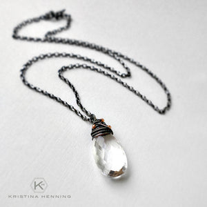 Rock crystal quartz pendant necklace wire wrapped with oxidized silver