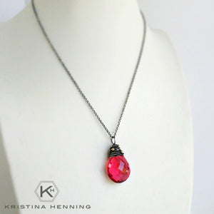 handmade pink stone and silver necklace
