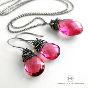 pink quartz stone and silver jewelry