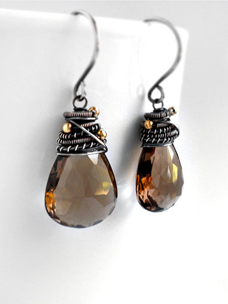 Brown quartz gemstone earrings in sterling silver