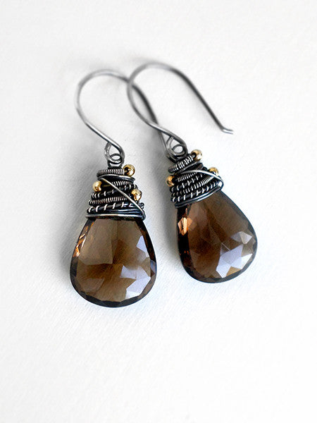 Brown drop earrings with smoky quartz and sterling silver