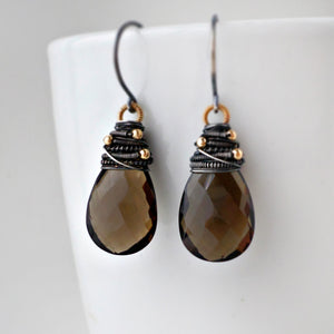 smoky quartz gemstone drop earrings wire wrapped with sterling silver