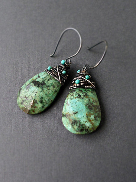Handmade turquoise and sterling silver earrings