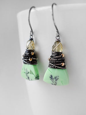Lime green and yellow stone drop earrings in sterling silver and gold