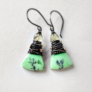 Green stone earrings with sterling silver and gold